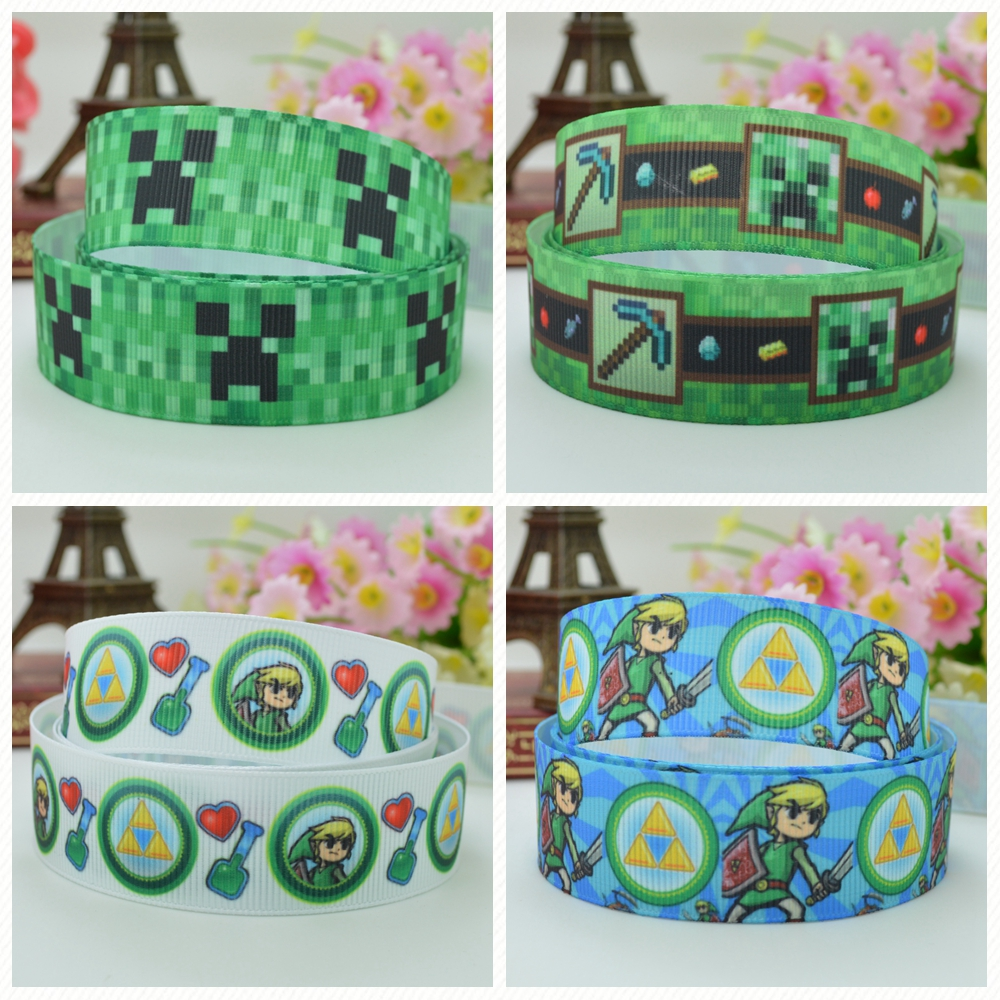 Girls' Clothing Duwes 7/8 22mm 2 5 10 20 50 Yards Minecraft Legend Zelda Cortoon Printed Grosgrain Ribbon Hai Rbow Diy Handmade