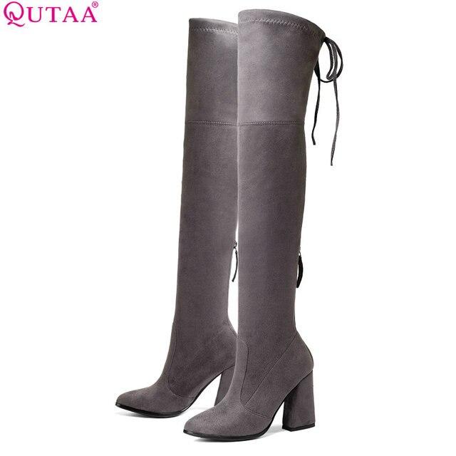 QUTAA Üzerinde 2020 Kadın Diz Yüksek Çizmeler Moda Kadın Ayakkabı Platformu Tırnak Topuklar Seksi Streç Kumaş Kadın Çizmeler Boyutu 34-43