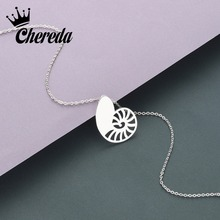 Chereda Turbo Charm Necklace Gold and Silver Shell of Dainty Delicate Birthday Gift Chain Pendants