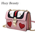 Hazy beauty heart and star brand design women handbag super chic lady cross body bag hot pink girls valentines love bags DH539