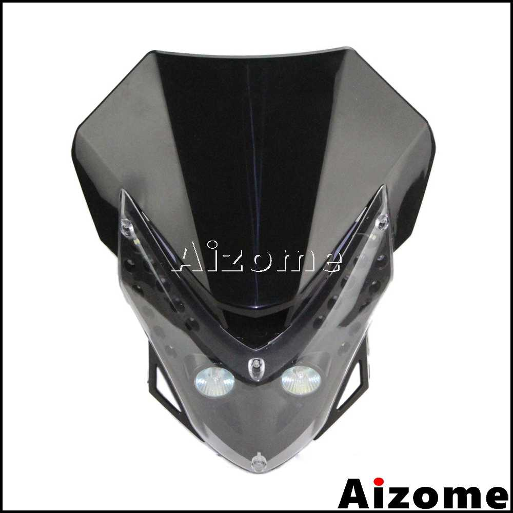 אופנוע LED גרסה פנס Fairing Supermoto ראש אור לסוזוקי DRZ400SM CRF TTR 250 CR WR KLX מוטוקרוס פנס