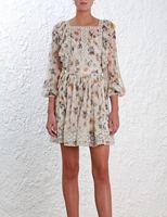 Для женщин Кружево trim insert Райф Одуванчик мини платье Цветочный принт двойной Слои оборками шелковое платье
