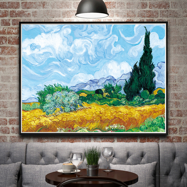 Wheat Field With Cypresses Vincent Van Gogh Art Silk Poster Decor ...