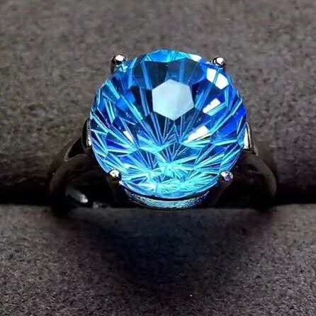 Brave Natural Blue Topaz Real 18 Rose Gold Ring 12 Carats Natural Blue Topaz Firework Cutting Real Diamond Top Quality Ring Fine Jewelry