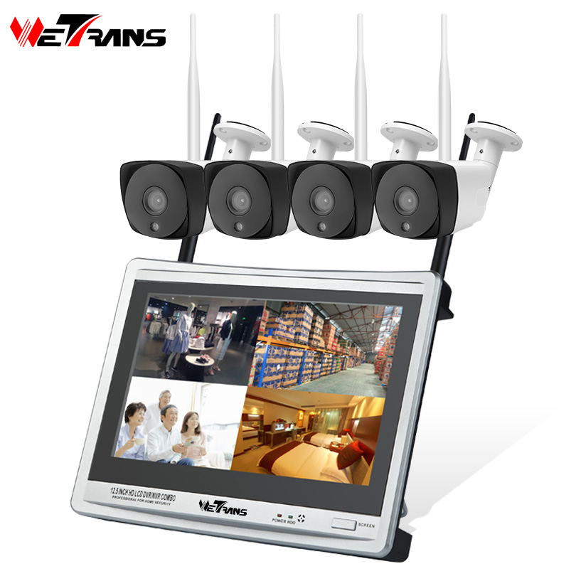 Wetrans Wireless Security Camera System Outdoor Wi fi 1080P IP 4CH CCTV Camera Kit Wifi NVR Set LCD HDD Alarm IR Night Vision