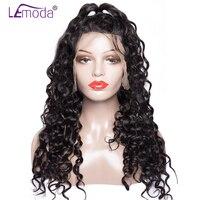 LeModa Full Lace натуральные волосы парики бразильский воды волна волос парики для черный Для женщин 200% плотность бесклеевого парики Remy