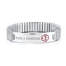 Personalized Medical Alert Bracelet Stainless Steel Engraved DIABETES Emergency Rescue