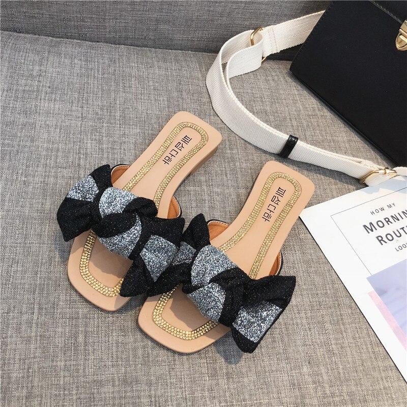 PHYANIC Роскошные Бабочка-узел Для женщин тапочки плоская подошва блестками ткань обувь женские шлёпанцы 2018 новые летние обувь черный