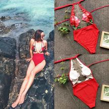 Red Flower Bra Set Women Halter Mesh Underwear Perspective lingerie set Beach Suit Bikini Biquini Lingerie