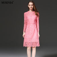 MUSENDA Plus Size Women Slim Hollow Out Lace Tunic Pink Dress 2017 Summer Sundress Lady Casual Fashion Brief Cute Office Dresses