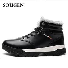 246c1dd66 Genuíno Sapatos Masculinos de Couro da Neve do inverno Botas para Homens  Bot Adultos com Pele