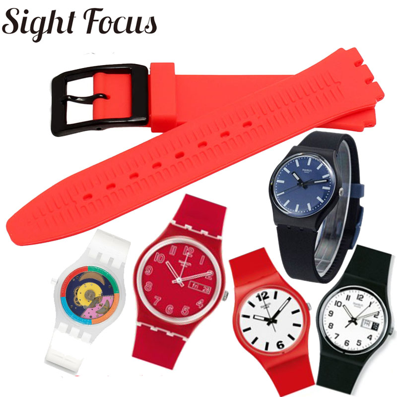 Colorful Watchband For Swatch Silicone Strap For SFK397 SFE102 Men And Women Watch Bands 17mm 19mm Waterproof Strap Correa Reloj