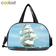 Boat On The Sea Men Travel Bags Pirate Sailboat Retro Handbags Shoes Holder Lager Capacity Multifunctional