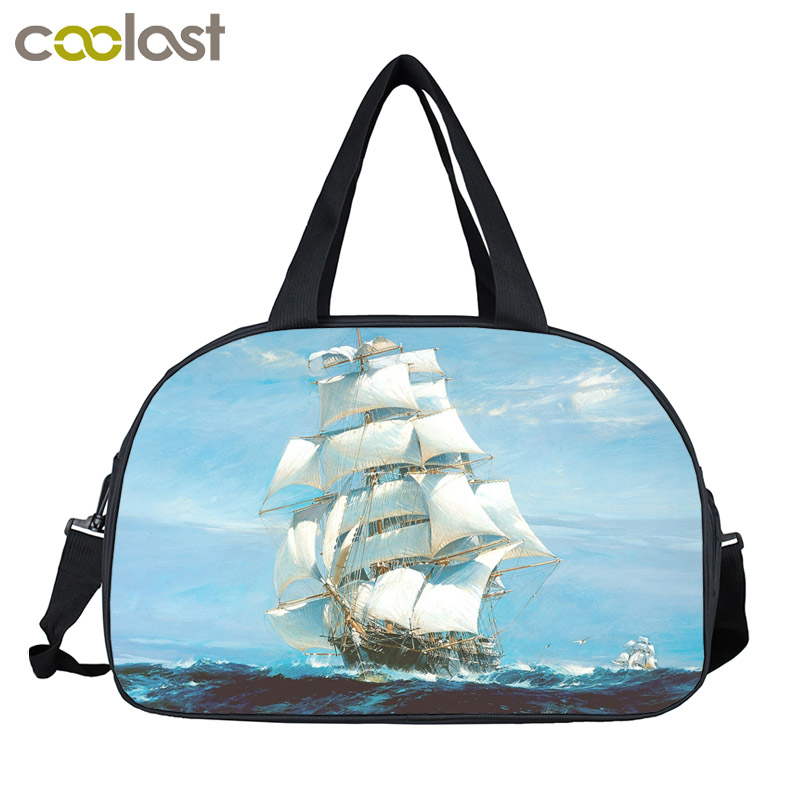 Boat On The Sea font b Men b font Travel Bags Pirate Sailboat Retro Handbags font