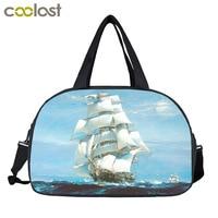 Sailing Boat On The Sea Men Travel Bags Pirate Sailboat Retro Handbags Shoes Holder Lager Capacity