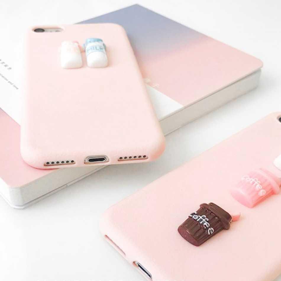 Para OPPO A39/A57 A35 A37 A33 Caso 3D DIY Café com Leite Dos Desenhos Animados Telefone Padrão Case Para OPPO A83 a59 A73/F5 TPU Macio Capa Rosa
