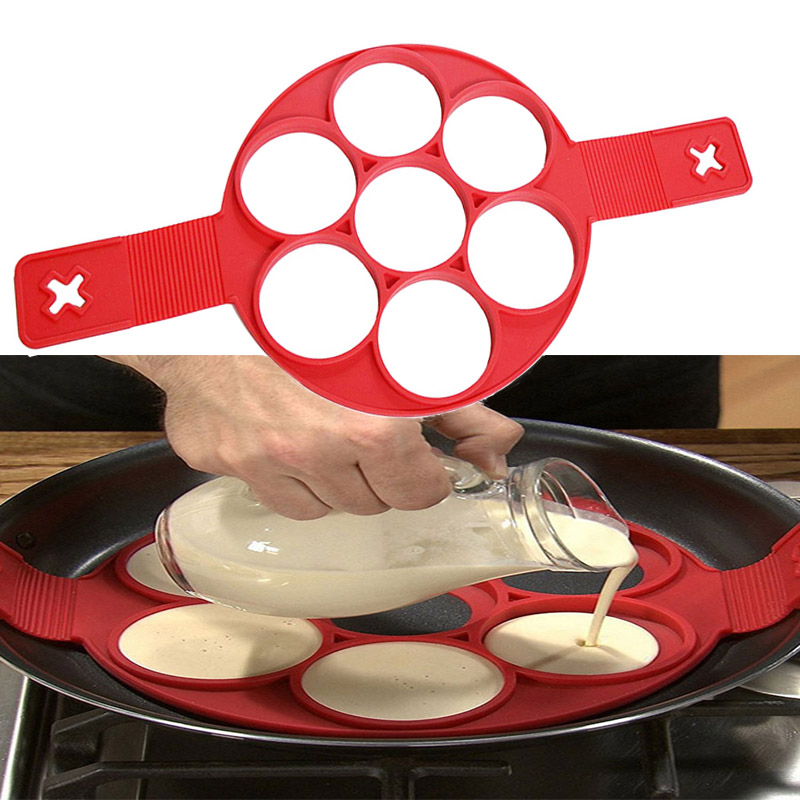 Fried Egg Pancake Maker Mold Non Stick Silicone Egg Pancake Maker Simple Operation Pancake Omelette Round Mold Kitchen Accessory image