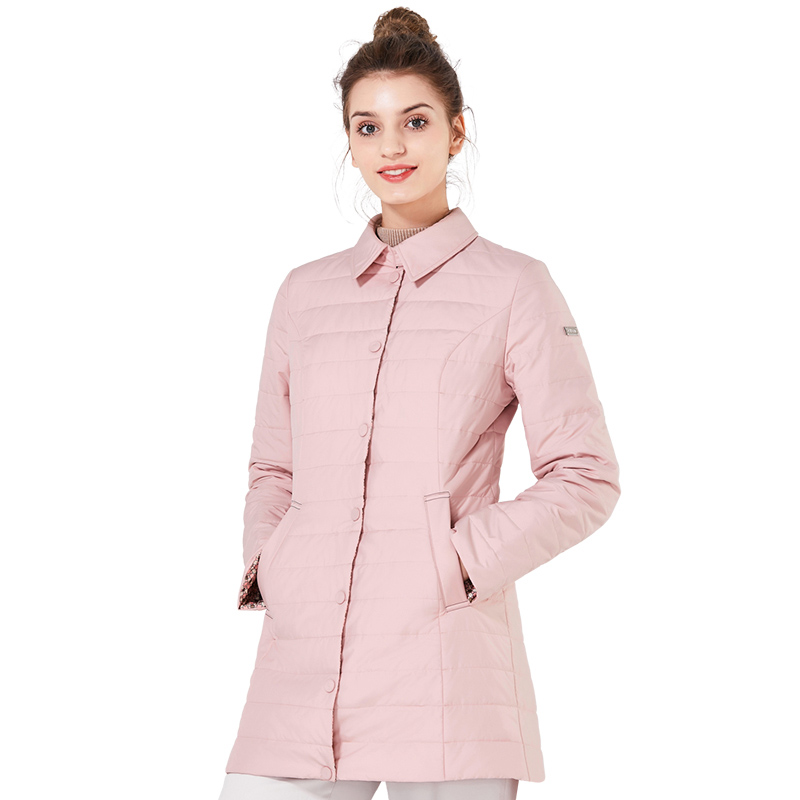 ICEbear 2018 New Shirt Collar Autumn Women Coat Fashion Woman Coats Winter Jacket Brand Windproof Clothing Parkas GWC18083D icebear 2018 woman clothing solid color long sleeved casual women coat stand collar pockets fashion trench coats 17g122d