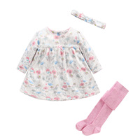 2017 New Baby Girl Clothes Set Newborn Baby 3pcs Sets Bow Headband Pantyhose Floral Dresses Babies