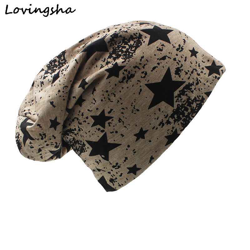 LOVINGSHA Ring Design Fünfzackiger Stern Winter Männer Frauen Hip-Hop Caps Beanie Hut Unisex Warm Plain Skullies Hats A-41