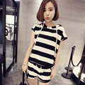 New 2016 Korean-style Summer Fashion Women Clothing Set Zebra stripes shorts suit  girl was thin loose Leisure suit sports wear