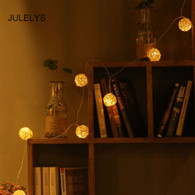 JULELYS 5M 20 Bulbs Garland LED Lights Decoration For Wedding Christmas Gerlyanda Rattan Balls String for Home Room Decor