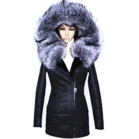 Factory Direct Supplier Winter 2016 New Women Coat Fur Fox Fashion Diamonds Leather Belt Suede Faux