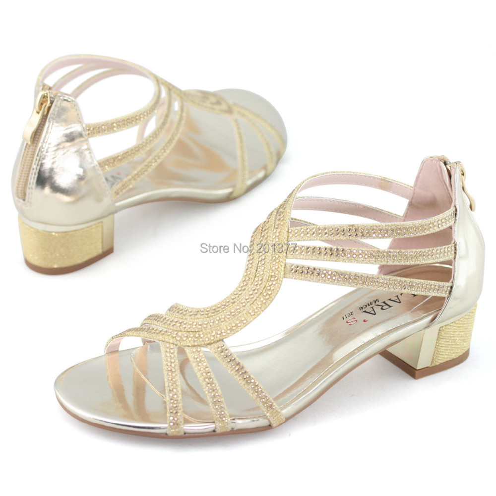 70205753fba LARA s t bar strappy medium heel sandals shoes woman silver gold rhinestone  glitter kitten heels for party wedding dress bride-in Women s Sandals from  Shoes ...