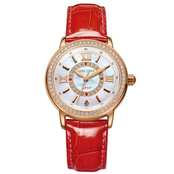 2021 Reef Tiger/RT Luxury Brand Casual Women Watches Red Leather Strap Waterproof Quartz Watch Clock Gift for Wife RGA1563 1