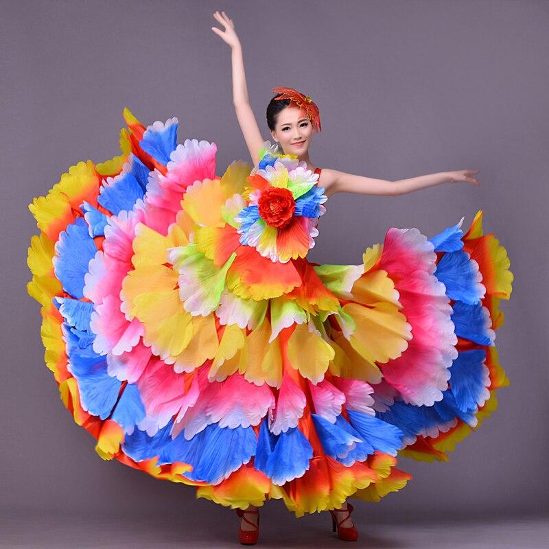 FEECOLOR Spanish Dances Bull Skirt Flamenco Circle Dress Adult Women Party Stage Dancing Carnival Costume 180-720 Degree
