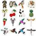 Emaille Kristall Bee Eule Libelle Vogel Hund Broschen für Frauen Pflanze Tier Insekt Brosche Pin Schmuck Bankett Hochzeiten Zubehör|Broschen|   -