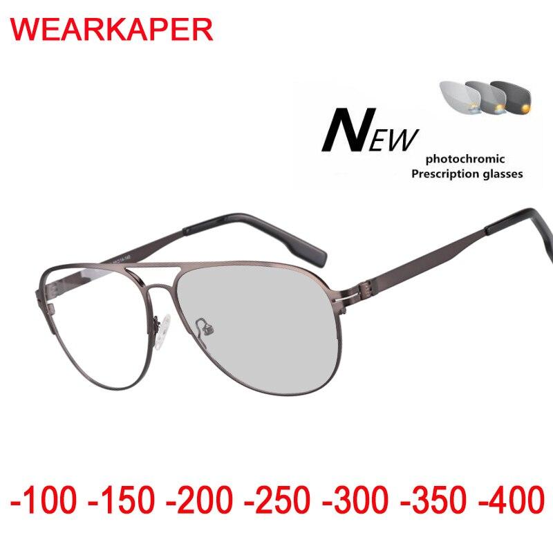 Titanium alloy Sun Transition Finished Men Women Myopia Eyeglasses Frame Sun glasses optical Myopia Eyewear Oculos Male