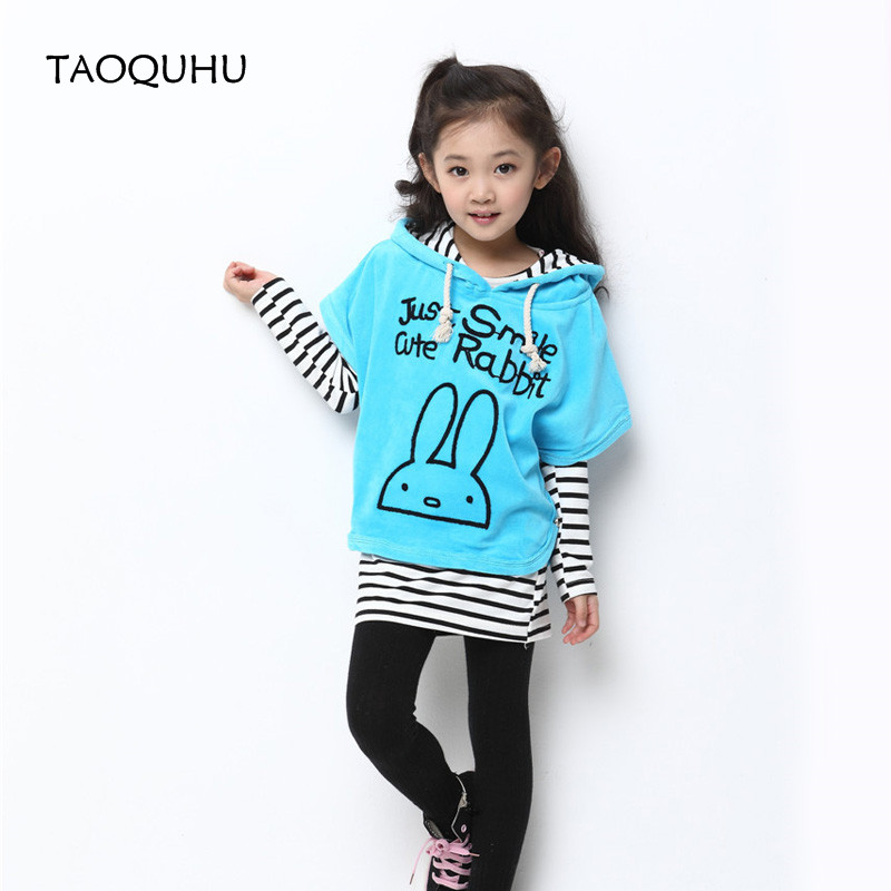 2016 Kids Girls 3PCS Set 1pc Batwing Sleeve Coat 1pc Shirt 1pc pants Kids Girls Clothing