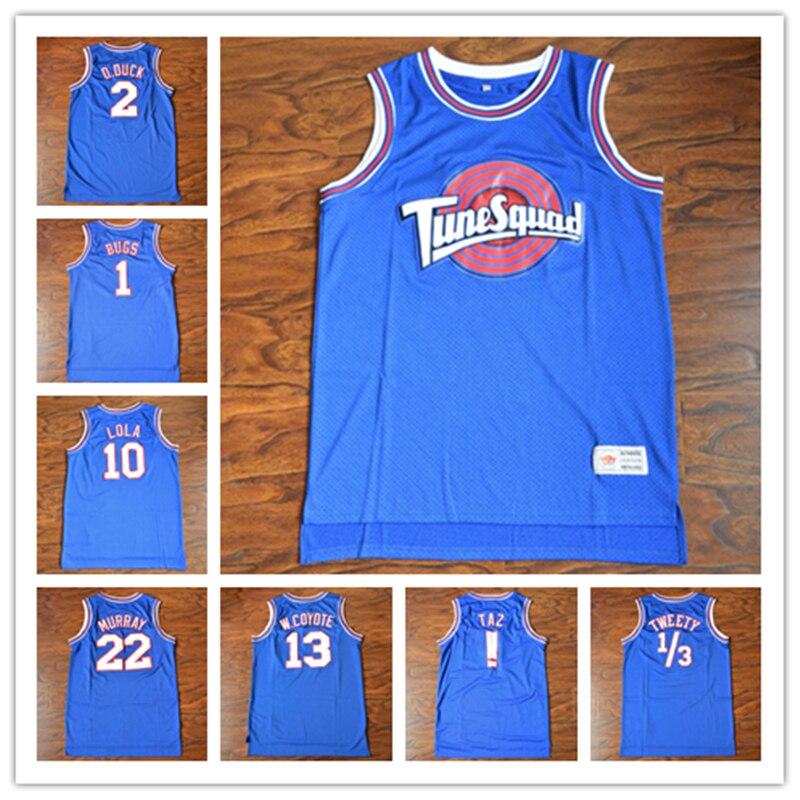 [16 tipos] Space Jam pato 2 Bugs 1 Lola 10 Murray 22 Tune Squad baloncesto Jersey cosido azul