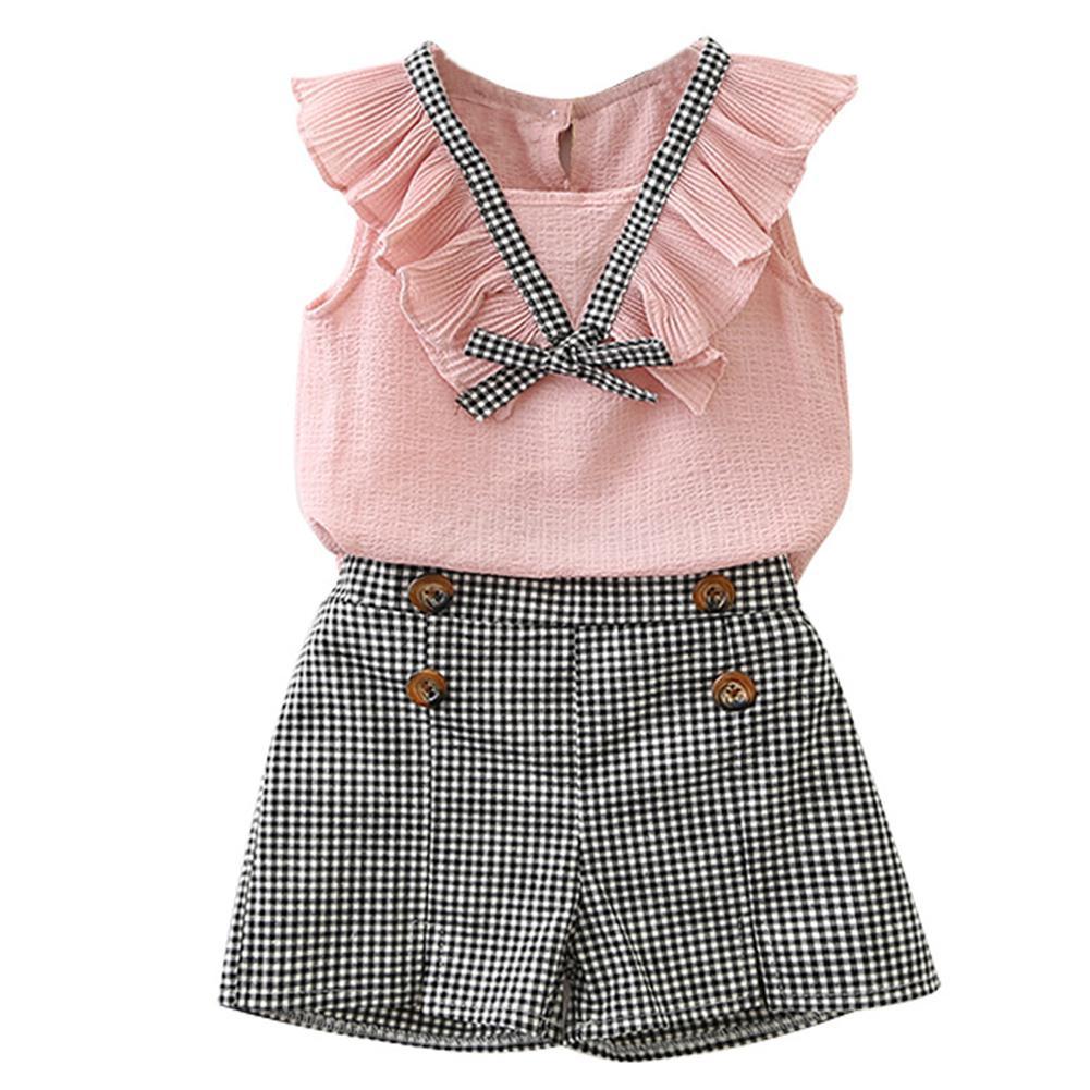 Girls Chiffon Cute Bowknot Shirt with Plaid Shorts Set