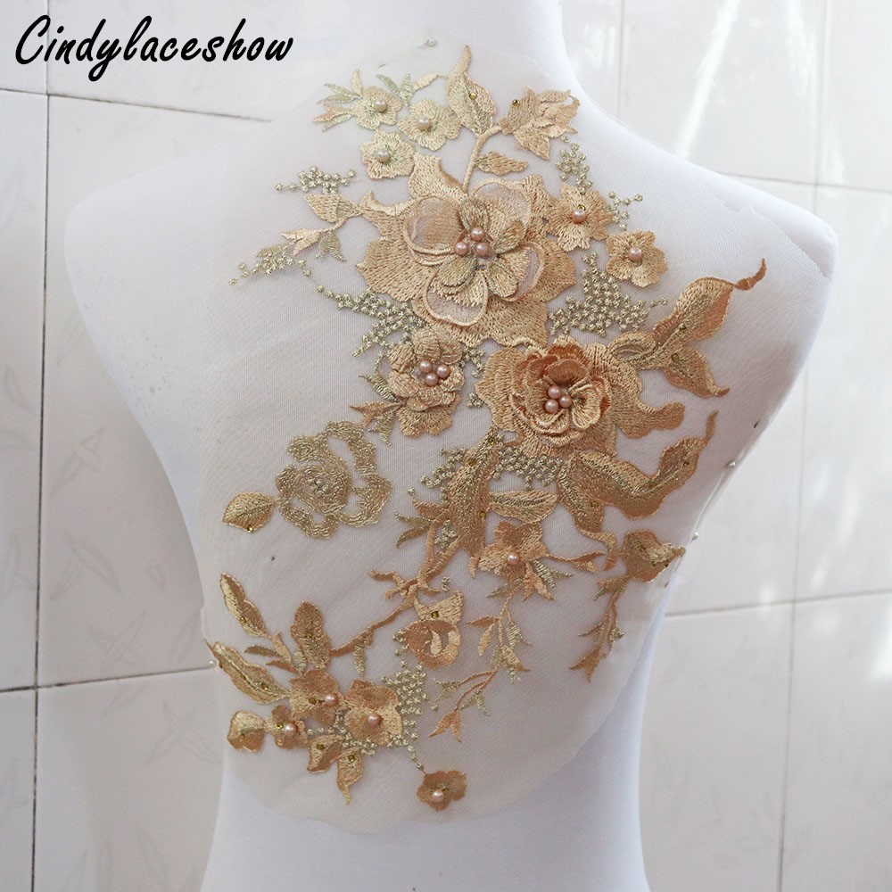 3D Flower Bridal Evening Dress Lace Applique Beaded Embroidery Costume Trim 1 PC