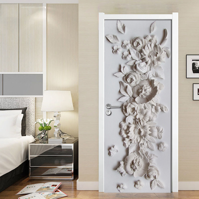 Us 14 86 33 Off Creative Diy 3d Embossed Flower Door Sticker Wall Mural Wallpaper Decal Pvc Self Adhesive Waterproof Vinyl Wall Paper Art Decor In