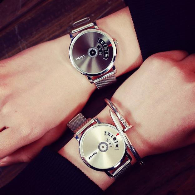 Lover's Creative Stainless Steel Men's Women Military Sport Analog Quartz Wrist