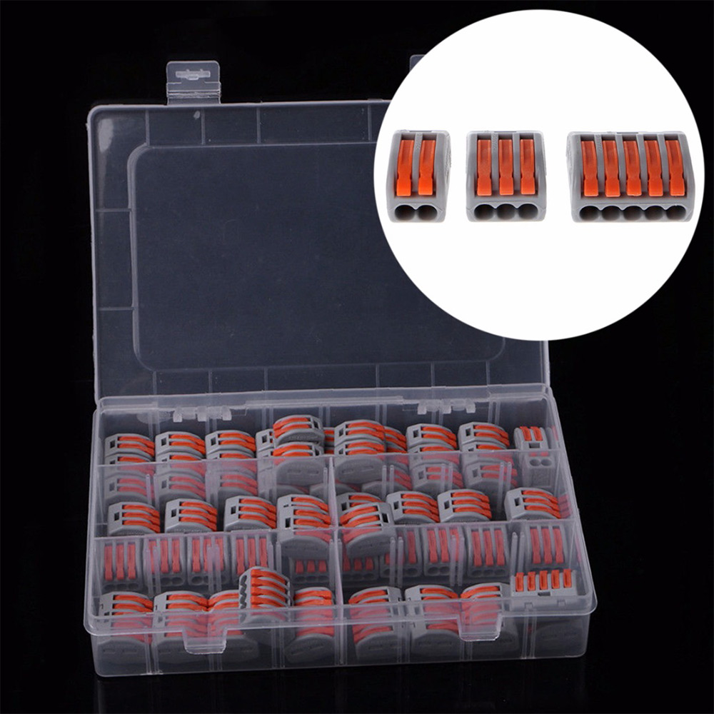 60pcs Mayitr Terminal Block Flexible Operating Lever Home Compact Splicing Connector Wire 2 3 5 Pole Electric Cable Clamp Nut60pcs Mayitr Terminal Block Flexible Operating Lever Home Compact Splicing Connector Wire 2 3 5 Pole Electric Cable Clamp Nut