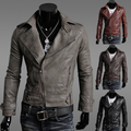 Men 2017 Large lapel oblique zipper design leather short slim clothing men's jacket outerwear coat