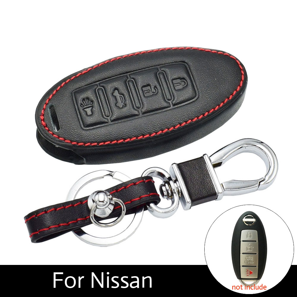 цена на ATOBABI Leather Fob Cover Key Cases For Nissan Versa Maxima Altima Rogue Armada Sentra Murano Infiniti FX35 QX60 Smart Car Key