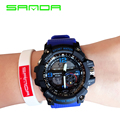SANDA 2017 fashion brand men military sports watches dual display analog digital LED Electronic quartz watches waterproof watch