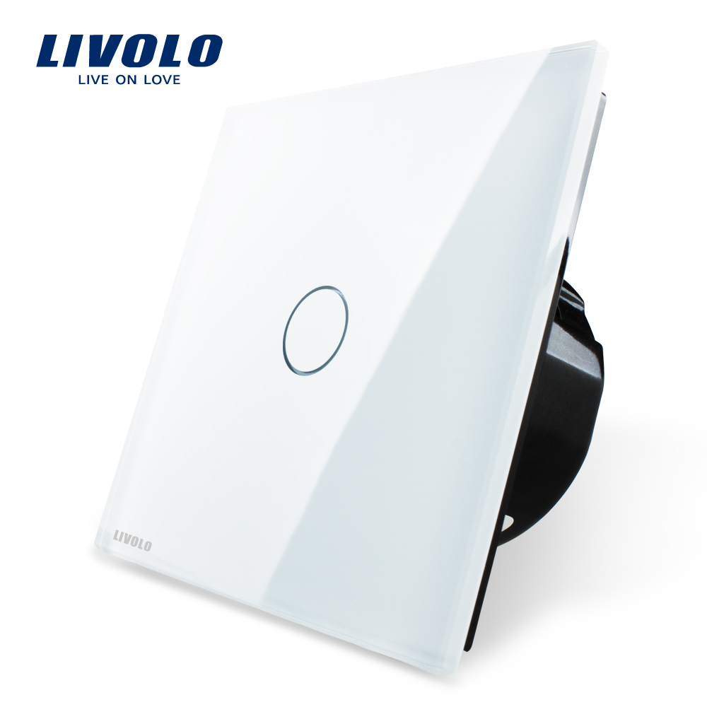 Livolo Luxury White Crystal Glass ,Wall Switch, Touch Switch, EU Standard, VL-C701-11,220~250V Touch Screen Wall Light Switch eu plug 1gang1way touch screen led dimmer light wall lamp switch not support livolo broadlink geeklink glass panel luxury switch