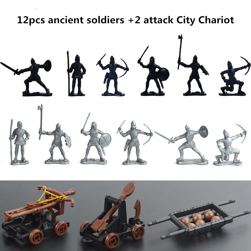 Medieval Military War Simulation Warriors Ancient Soldier Military Attack A City War Chariot  Figures Model For Children Gifts