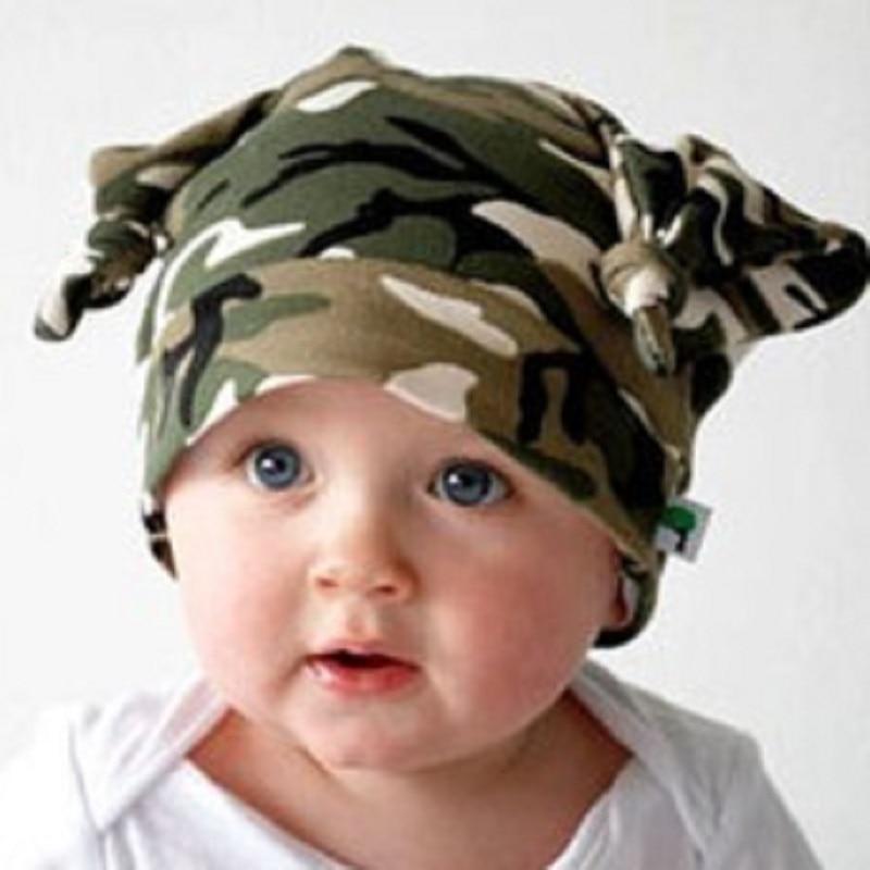 Camouflage Baby Hats Cotton Newborn Cap Camo Beanies Boys beret Hat Kids  Horn Caps Children Bucket eb62f4085c9