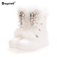 NEW Handmade Real Rabbit Fur Winter White Boots Rhinestones Gemstone Snow Boots Thick Warm High Top Women Shoes Large Size 34 41