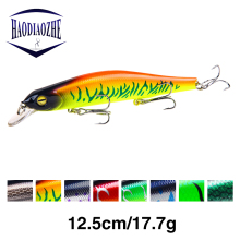 Купить с кэшбэком HAODIAOZHE New Fishing Lure Minnow Diving Depth 0-1.5m Topwater Wobblers Black Jerkbait Pesca 12.5cm 17.3g Isca Fish Lures YU88