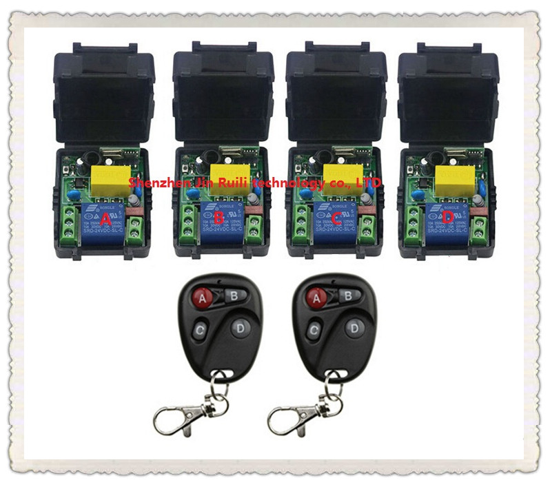 New AC220V 1CH Radio Controller RF Wireless Relay Remote Control Switch 315 MHZ 433 MHZ 2 Transmitter +4 Receiver --JRL220V-89 ac 85v 220v 110v 250v 1ch 10a radio controller rf wireless remote control switch transmitter 4 receivers for electric curtain