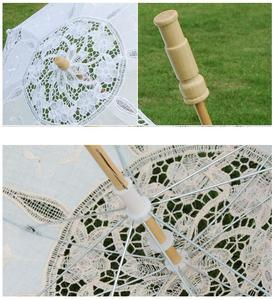 Image 5 - BIG SIZE  Lace Wedding Umbrella Handmade Cotton Embroidery  Bridal Umbrella Decorations Free Shipping