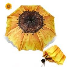 2019 New 3D Cute Sunflower Umbrella Women 24cm Three Folding Windproof Wasterproof Anti UV Parasol Sunny Rainy Women's Umbrella